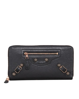 Giant Rose Golden Continental Zip Wallet, Black