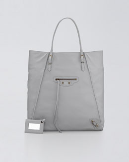 Balenciaga Papier Leather Basket Tote Bag, Graphite
