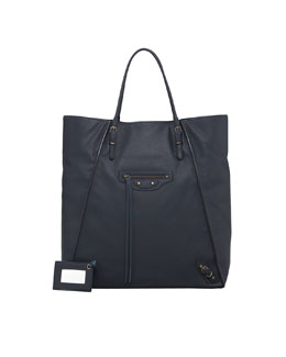 Balenciaga Papier Leather Basket Tote Bag, Bleu Roi