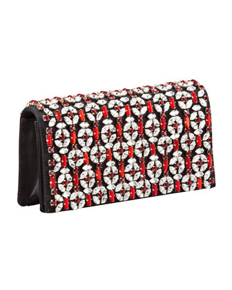 Raso Jeweled Clutch, Black (Nero)
