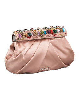 Prada Raso Jeweled Clutch, Nudo/Nude