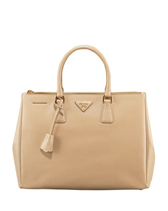 Saffiano Lux Top Handle Tote, Sand