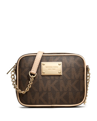 Jet Set Crossbody, Brown Logo Monogram