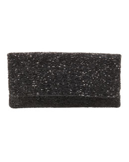 Moyna Beaded Flap-Top Clutch, Black