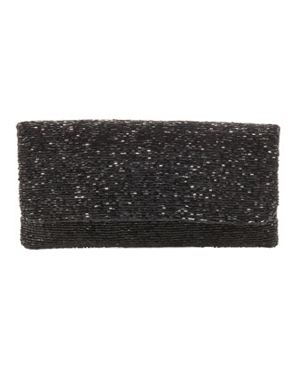 Beaded Flap-Top Clutch, Black