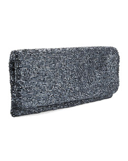 Moyna Beaded Fold-Over Clutch, Gunmetal