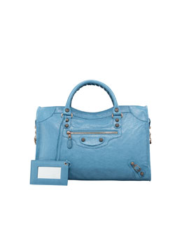 Balenciaga Giant 12 Rose Golden City Bag, Blue Indigo