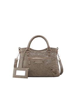Balenciaga Giant 12 Rose Golden Town Bag, Gris Poivre