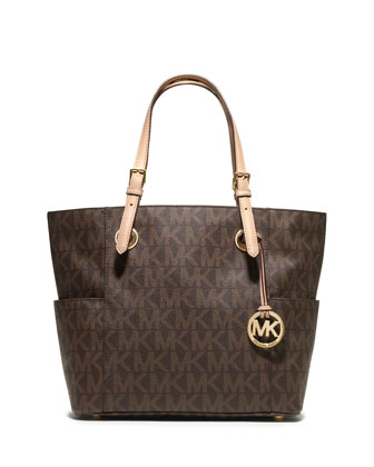 Logo-Print Signature Tote Bag, Brown