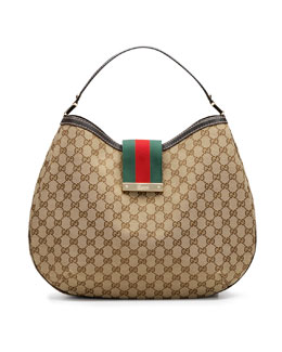 Gucci New Ladies Web GG Hobo Bag, Large