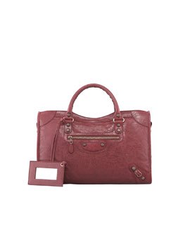 Balenciaga Giant 12 Rose Golden City Bag, Cassis/Bordeaux