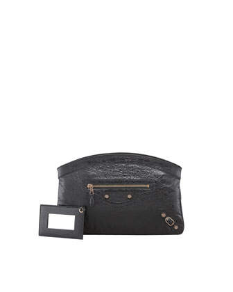 Giant 12 Rose Golden Premier Clutch Bag, Black