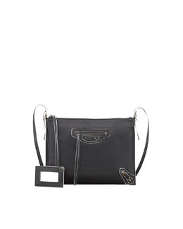 Balenciaga Papier Neo Folk Handle Crossbody Bag, Black/White