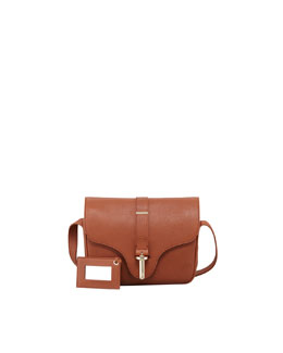 Balenciaga Tube-Clasp Crossbody Bag, Rust Brown