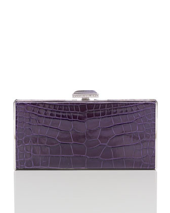 East-West Rectangle Clutch Bag, Violet