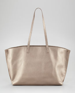 Akris Ai Metallic Leather Tote Bag, Medium
