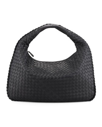 Medium Veneta Hobo Bag, Black