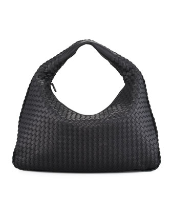 Large Veneta Hobo Bag, Black
