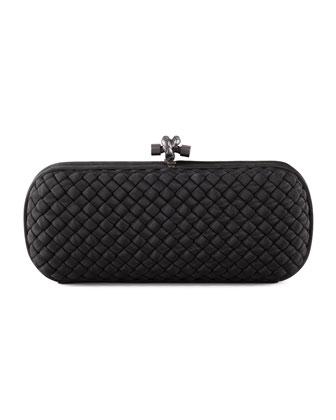 Woven Faille Large Knot Clutch Bag