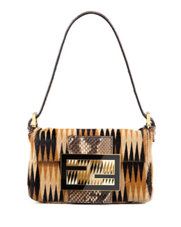 Fendi Printed Calf Hair Mini Baguette