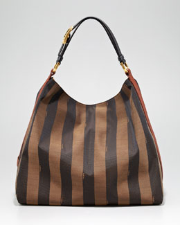 Fendi Pequin Tonal Stripe Hobo Bag