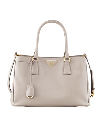 Saffiano Lux Tote Bag, Small, Grey (Argilla)