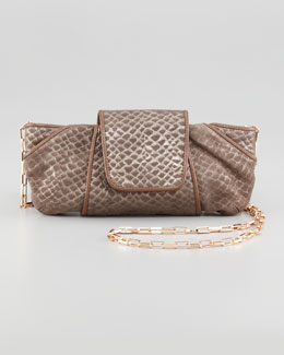 Kooba Metallic Snake-Embossed Clutch Bag