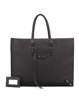 Papier A4 Leather Tote Bag, Black