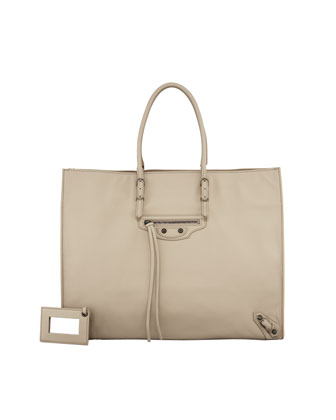 Papier A4 Leather Tote Bag, Sahara