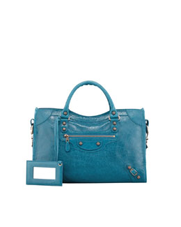 Balenciaga Giant 12 Rose Golden City Bag, Blue