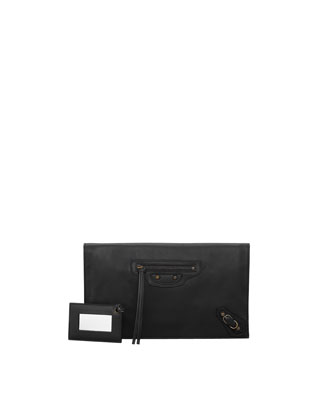 Papier View Clutch Bag, Noir