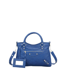 Balenciaga Giant 12 Nickel Town Bag, Bluete