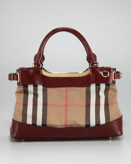 Burberry Leather-Trim Check Tote Bag, Small