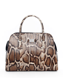 Michael Kors  Gia Embossed Satchel Bag