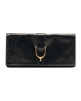 Gucci Soft Stirrup Python Clutch Bag