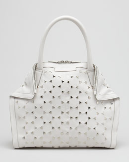 Alexander McQueen Triangle-Studded De-Manta Tote Bag, Mini