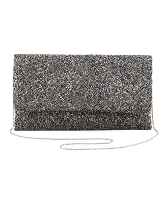 Beaded Fold-Over Clutch Bag, Pewter (CUSP Most Loved!)