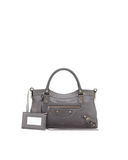 Balenciaga Classic Silver Pearly First Tote Bag, Bronze