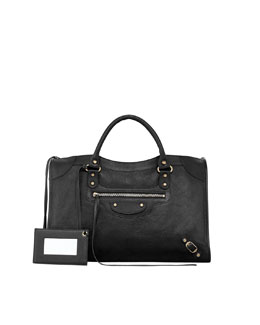 Balenciaga Classic Golden City Bag, Black