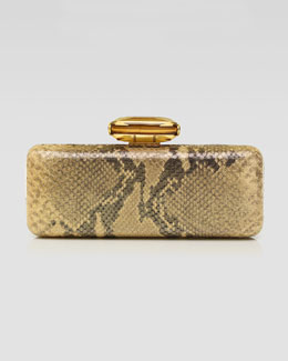 Overture Judith Leiber Jessica Slim Rectanble Snake-Embossed Clutch Bag, Gold