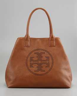 Tory Burch Stacked Logo Large Tote Bag, Tan