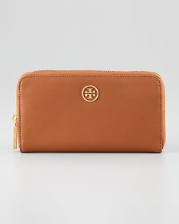 Tory Burch Robinson Continental Zip Wallet, Luggage/French Rose