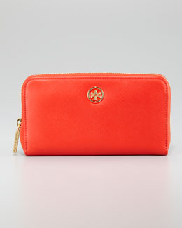 Tory Burch Robinson Zip Continental Wallet, Hot Red Clay/Beige