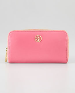Tory Burch Robinson Continental Zip Wallet, French Rose/ Luggage