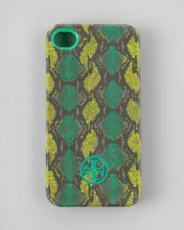 Tory Burch Pop Snake-Print Soft iPhone 4 Case, Island Turquoise