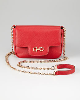 Salvatore Ferragamo Fancy Leather Clutch Bag, Red