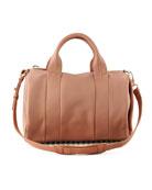 Rocco Stud-Bottom Satchel Duffel Bag, Pinky Beige/Golden