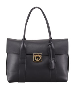 Salvatore Ferragamo Sookie Flap-Front Satchel Bag, Black