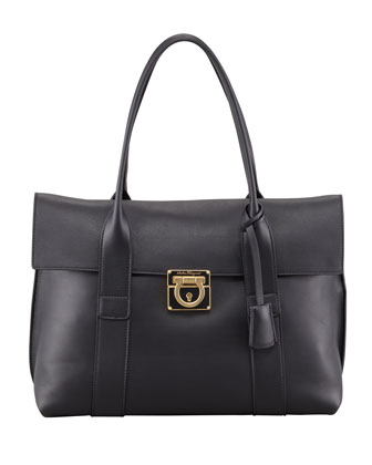 Sookie Flap-Front Satchel Bag, Black