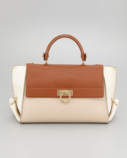 Salvatore Ferragamo Sofia Colorblock Flap Satchel Bag, Almond